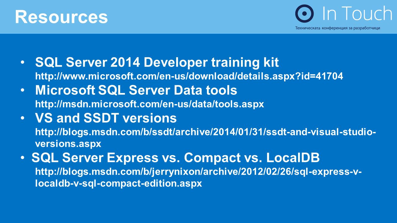 Resources SQL Server 2014 Developer training kit