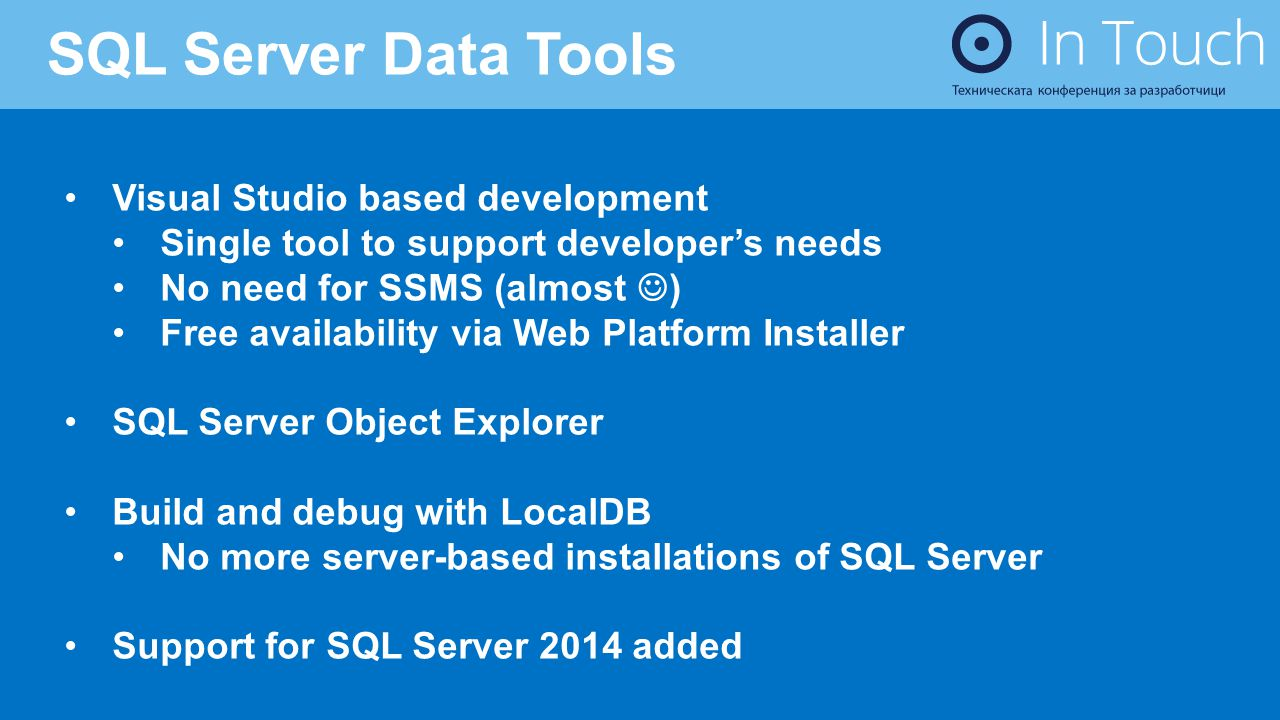 SQL Server Data Tools Visual Studio based development