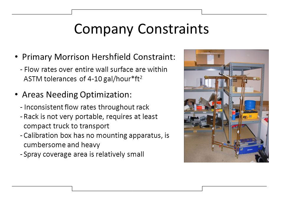 Company Constraints Primary Morrison Hershfield Constraint: