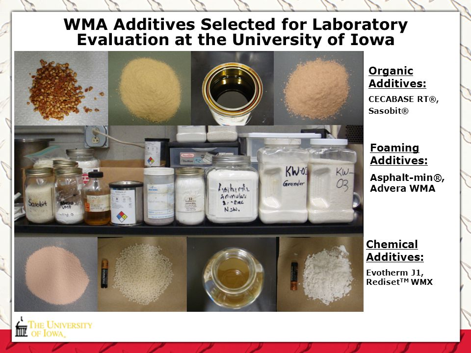 WMA Additives Selected for Laboratory Evaluation at the University of Iowa