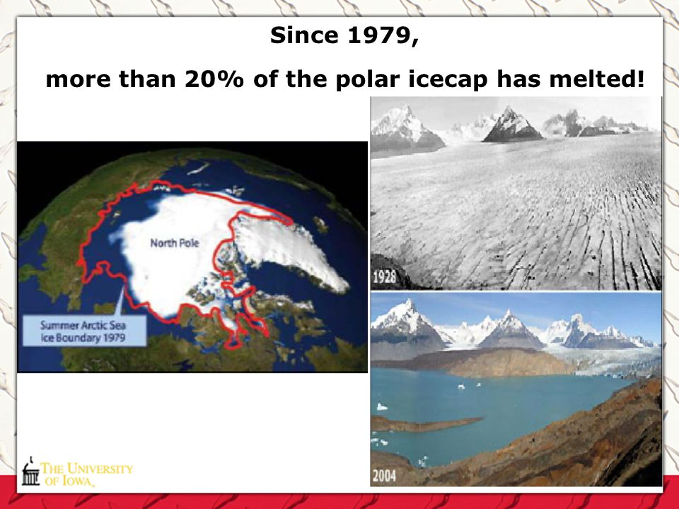 Since 1979, more than 20% of the polar icecap has melted!