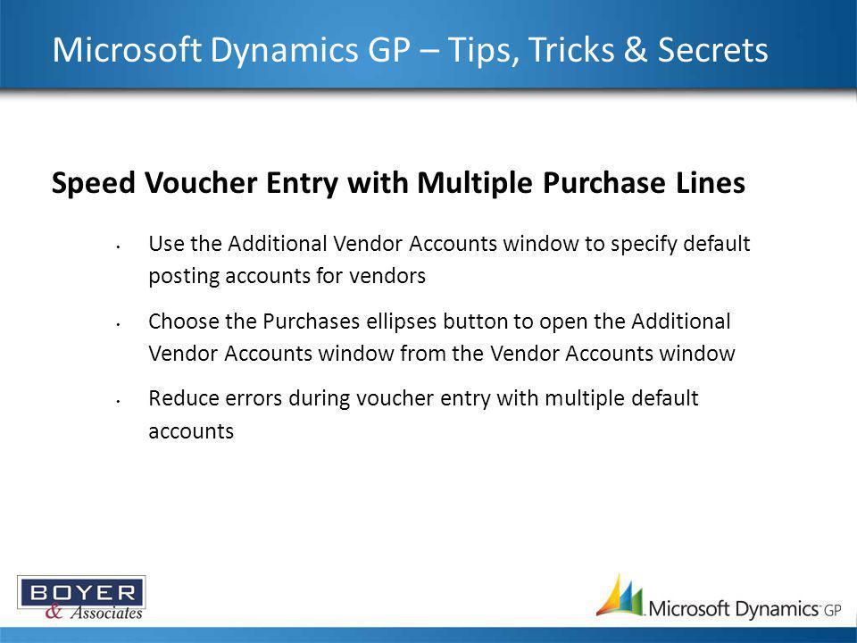Microsoft Dynamics GP – Tips, Tricks & Secrets