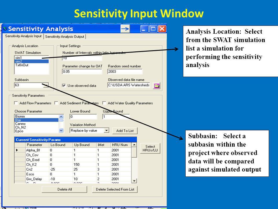 Sensitivity Input Window