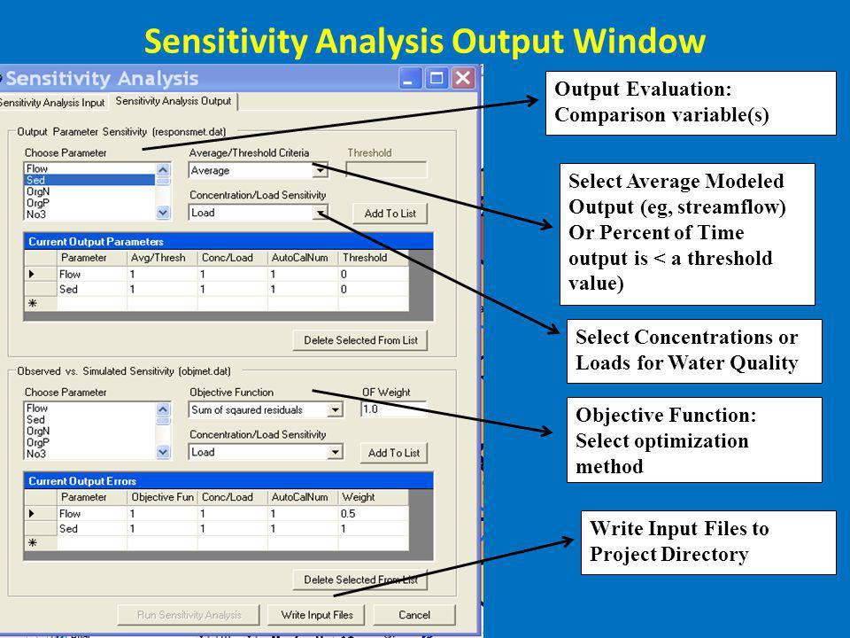 Sensitivity Analysis Output Window