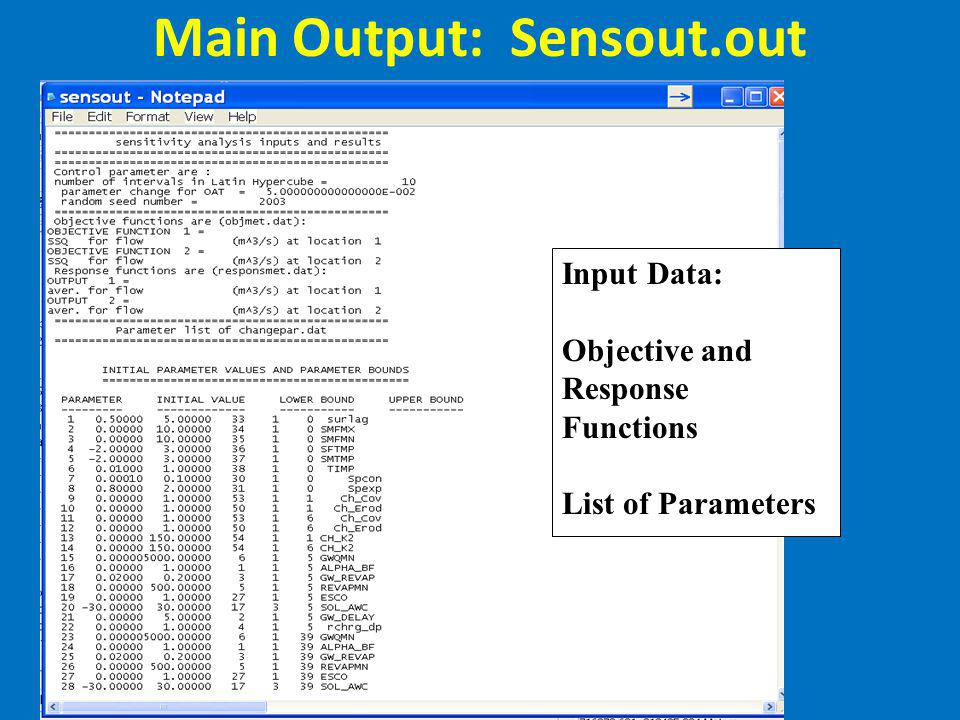 Main Output: Sensout.out