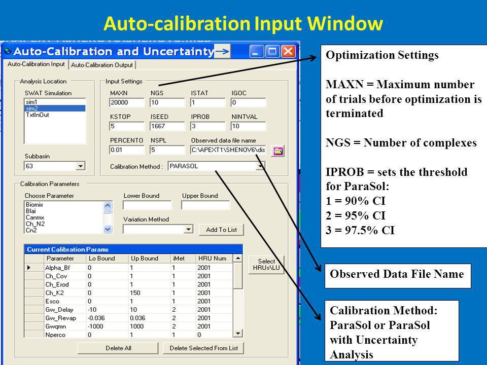 Auto-calibration Input Window