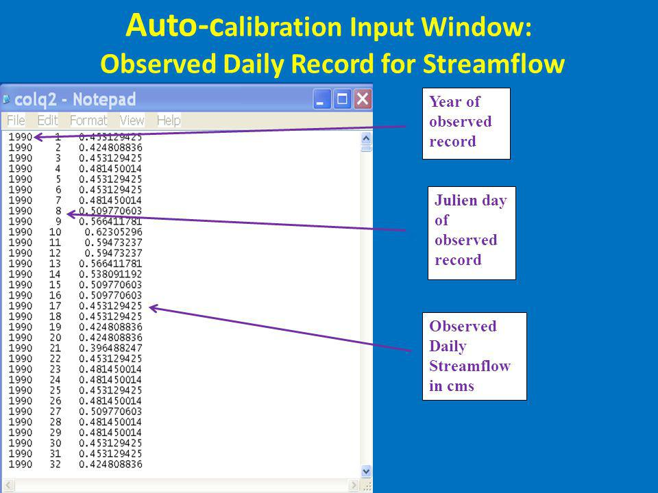 Auto-calibration Input Window: Observed Daily Record for Streamflow