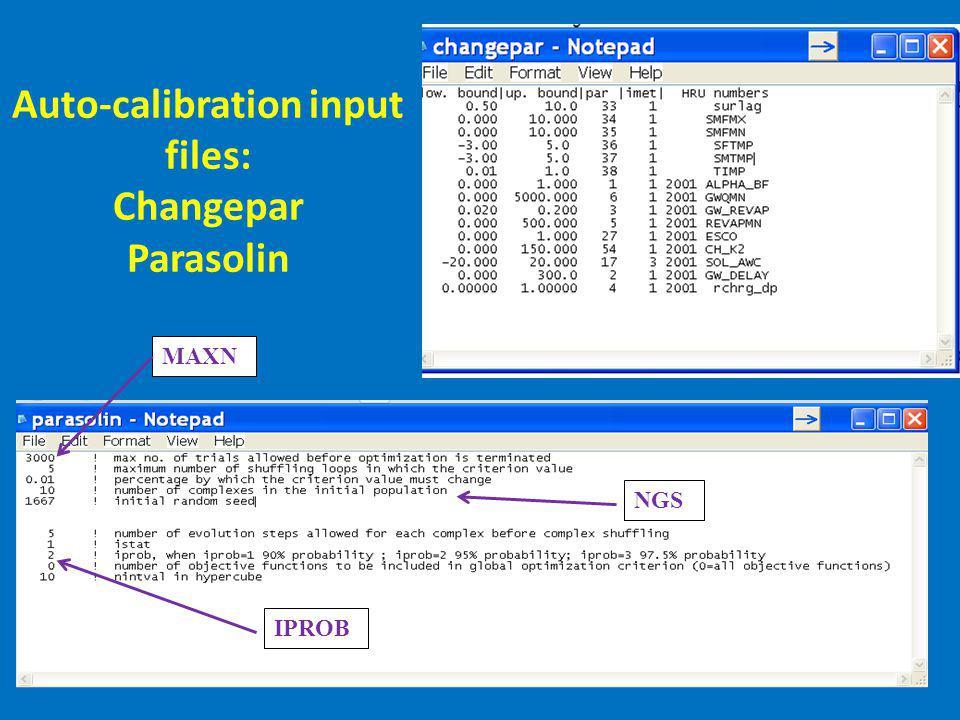 Auto-calibration input files: Changepar Parasolin