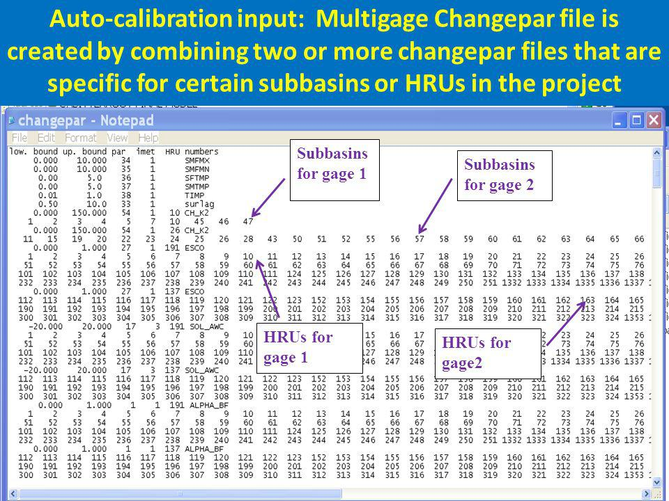 Auto-calibration input: Multigage Changepar file is created by combining two or more changepar files that are specific for certain subbasins or HRUs in the project