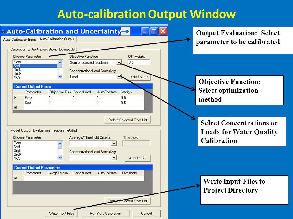 Auto-calibration Output Window