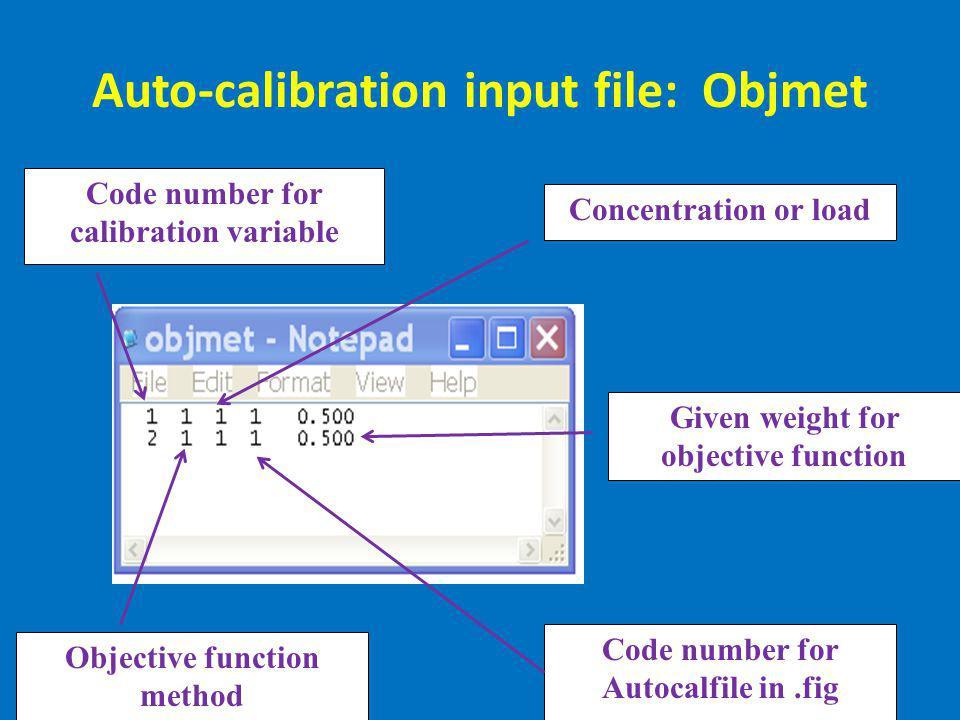Auto-calibration input file: Objmet