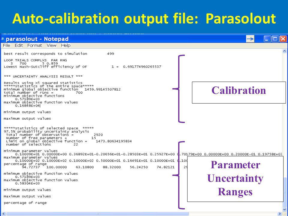Auto-calibration output file: Parasolout