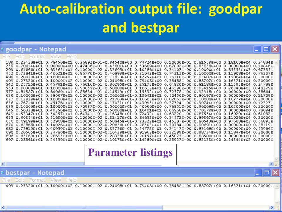 Auto-calibration output file: goodpar and bestpar