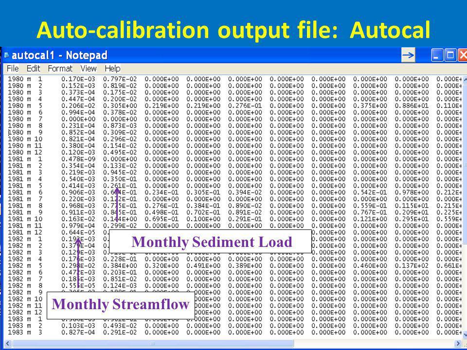 Auto-calibration output file: Autocal