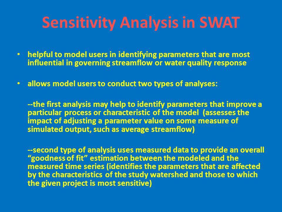 Sensitivity Analysis in SWAT
