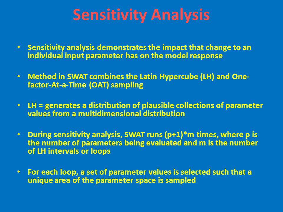 Sensitivity Analysis Sensitivity analysis demonstrates the impact that change to an individual input parameter has on the model response.