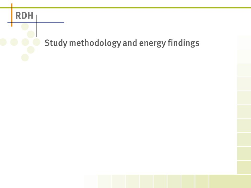 Study methodology and energy findings