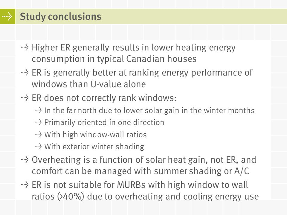 Study conclusions Higher ER generally results in lower heating energy consumption in typical Canadian houses.