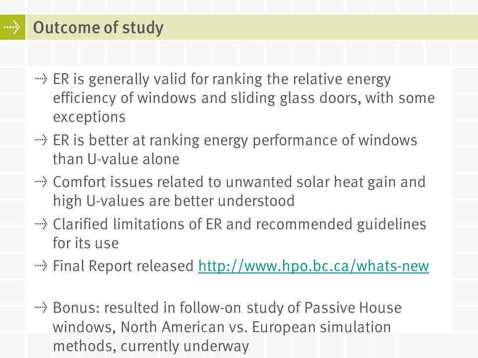 Outcome of study ER is generally valid for ranking the relative energy efficiency of windows and sliding glass doors, with some exceptions.