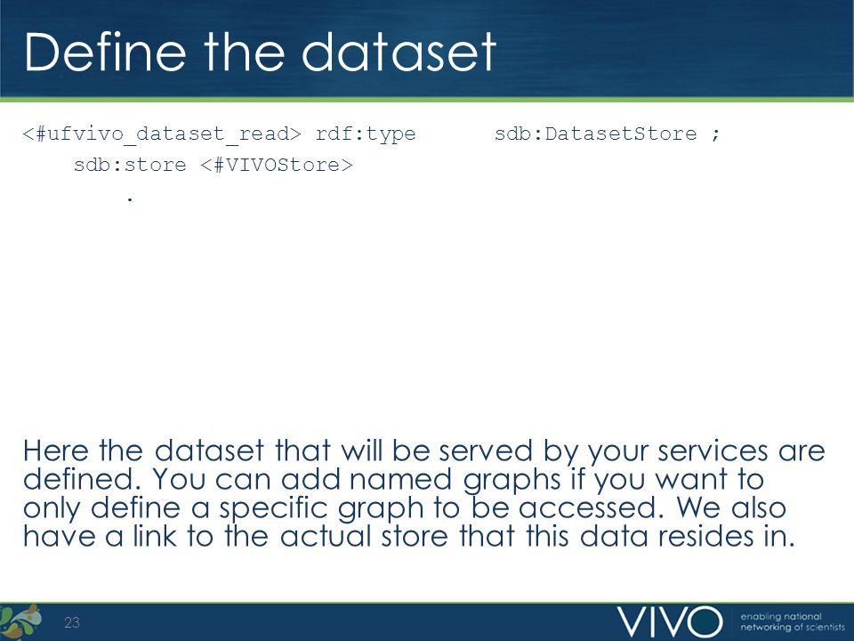 Define the dataset <#ufvivo_dataset_read> rdf:type sdb:DatasetStore ; sdb:store <#VIVOStore> .