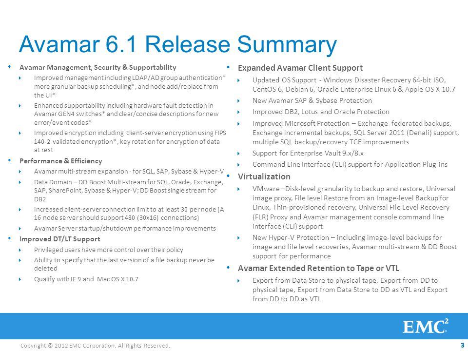 Avamar 6.1 Release Summary