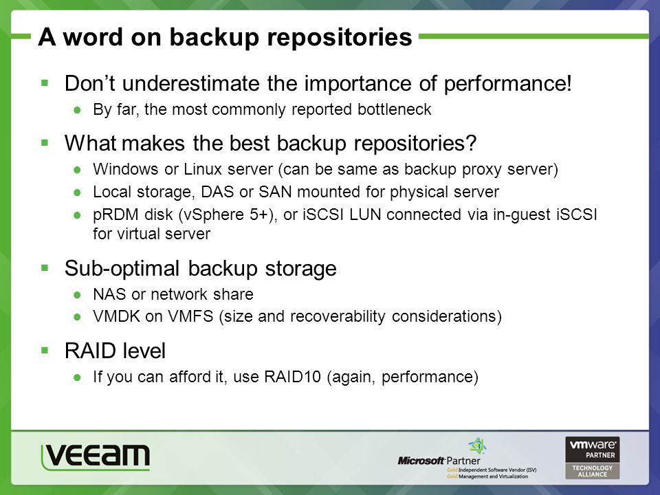 A word on backup repositories