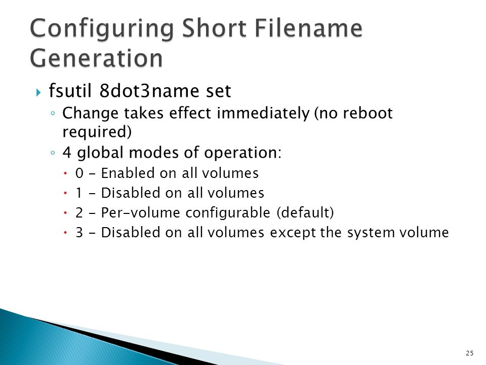 Configuring Short Filename Generation