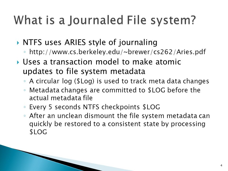 What is a Journaled File system