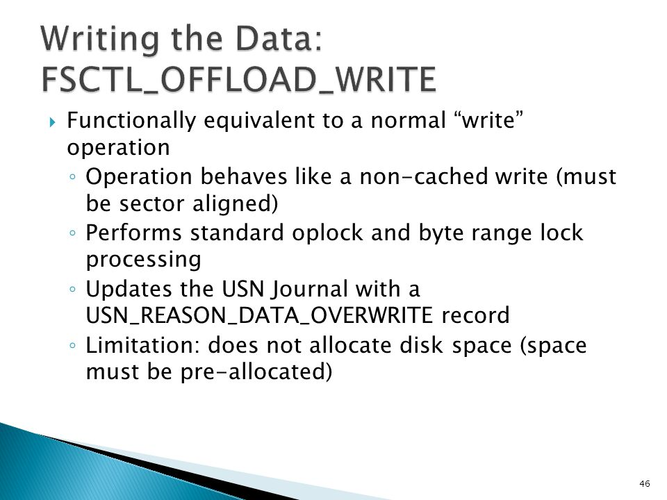 Writing the Data: FSCTL_OFFLOAD_WRITE