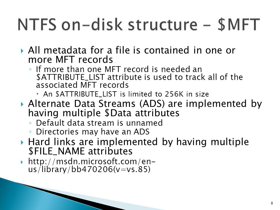 NTFS on-disk structure - $MFT