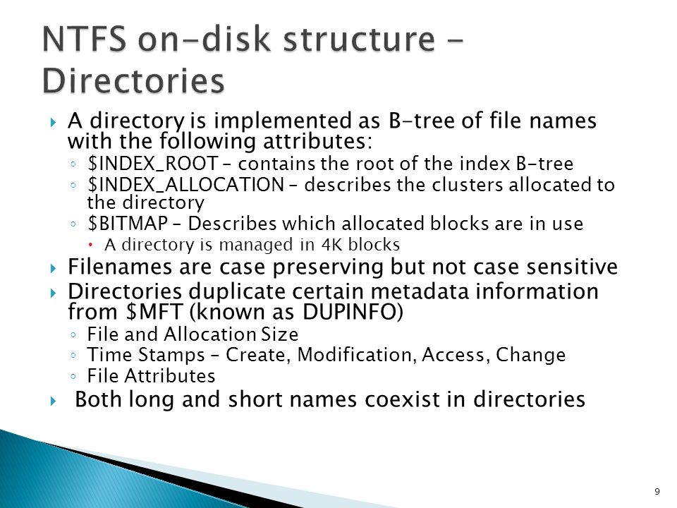 NTFS on-disk structure - Directories