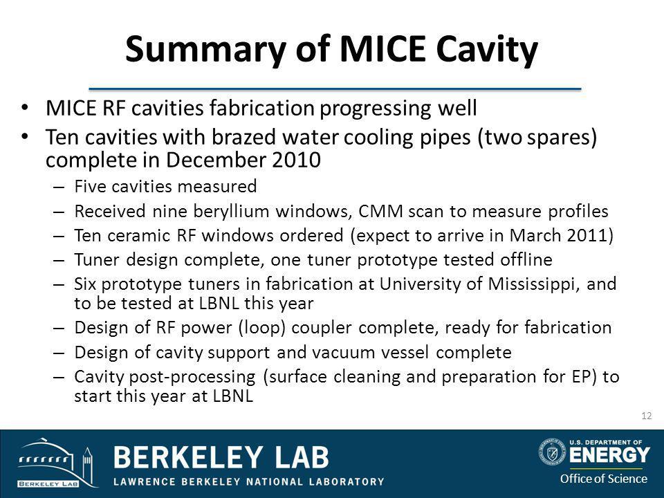 Summary of MICE Cavity MICE RF cavities fabrication progressing well
