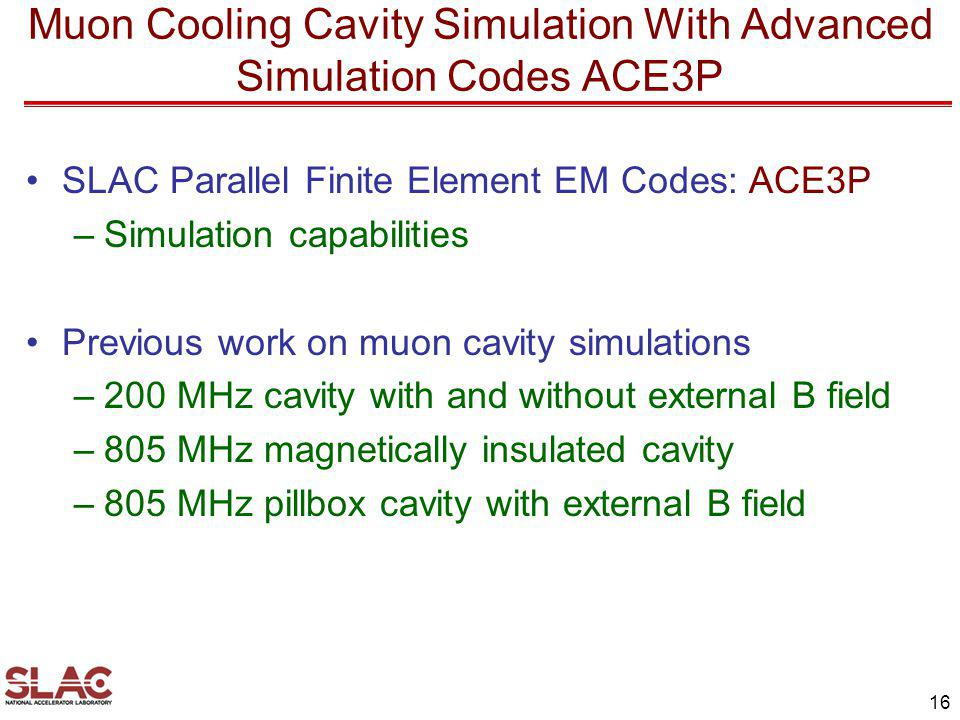 Muon Cooling Cavity Simulation With Advanced Simulation Codes ACE3P