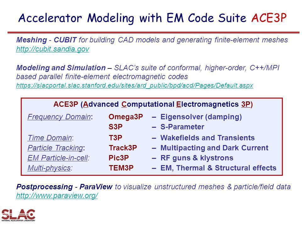 ACE3P (Advanced Computational Electromagnetics 3P)