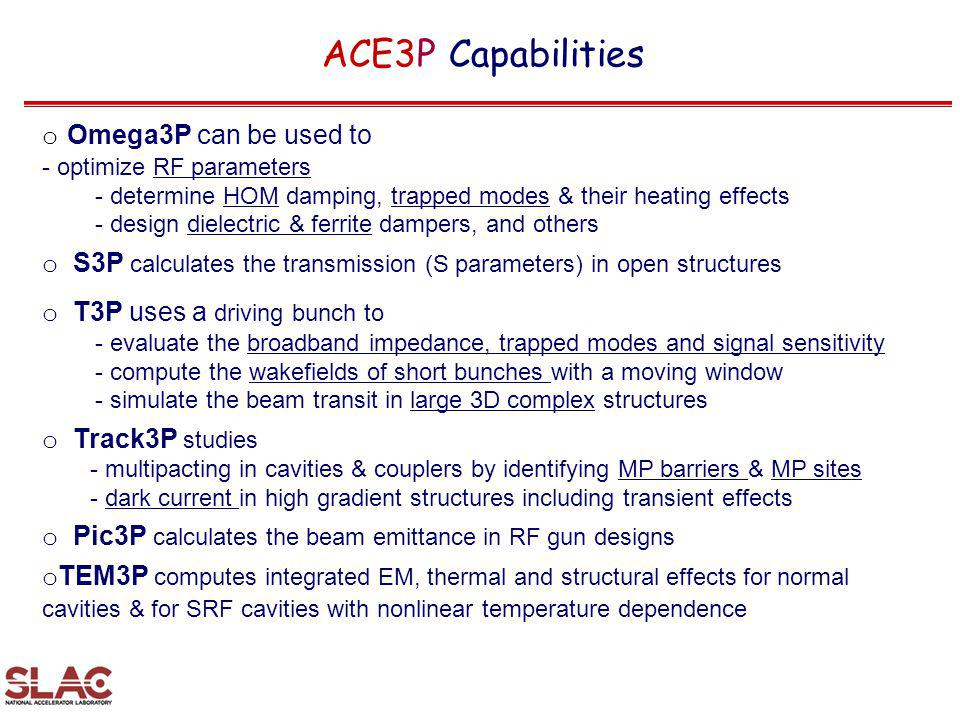 ACE3P Capabilities Omega3P can be used to