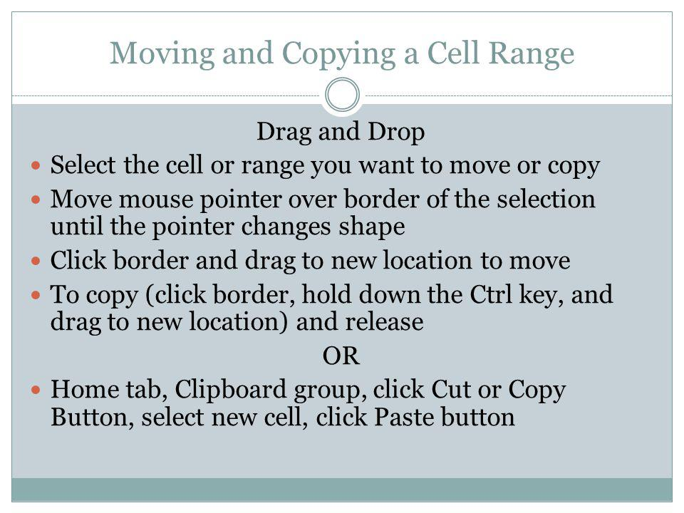 Moving and Copying a Cell Range