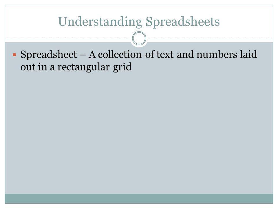 Understanding Spreadsheets