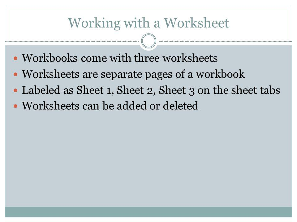Working with a Worksheet