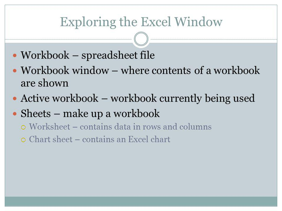 Exploring the Excel Window