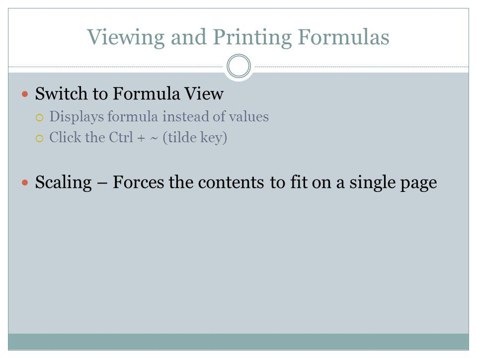 Viewing and Printing Formulas