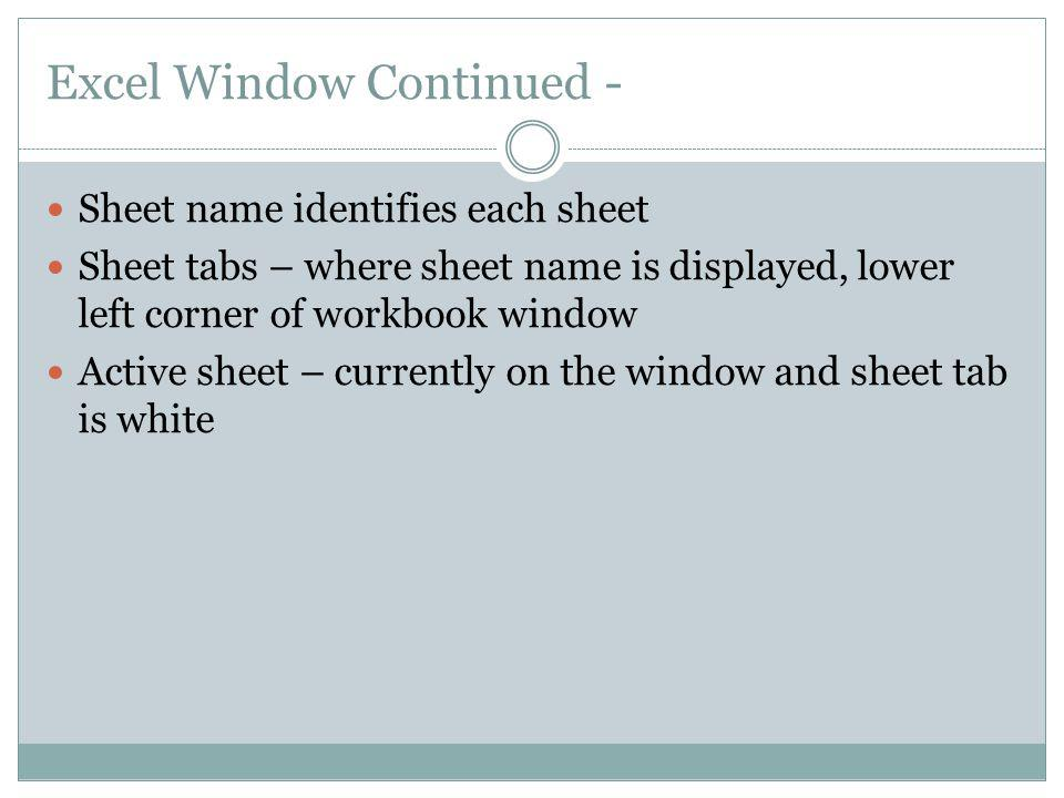 Excel Window Continued -