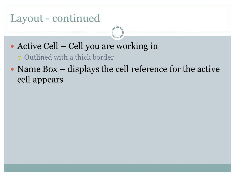 Layout - continued Active Cell – Cell you are working in
