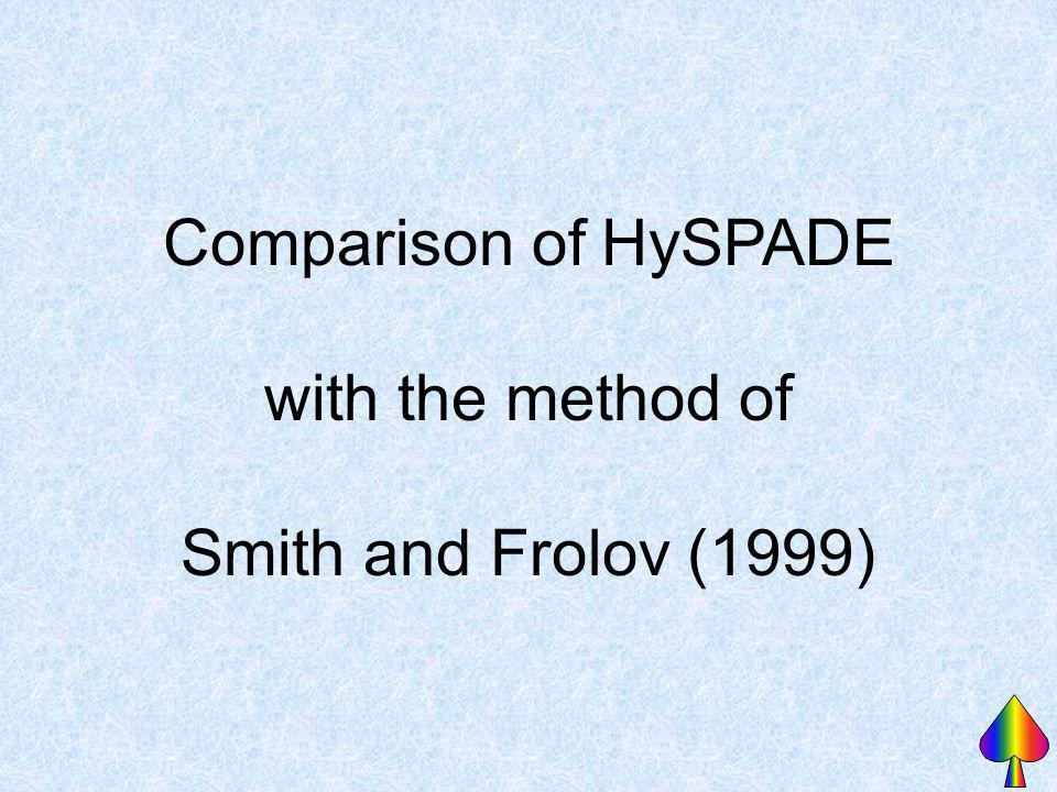 Comparison of HySPADE with the method of Smith and Frolov (1999)