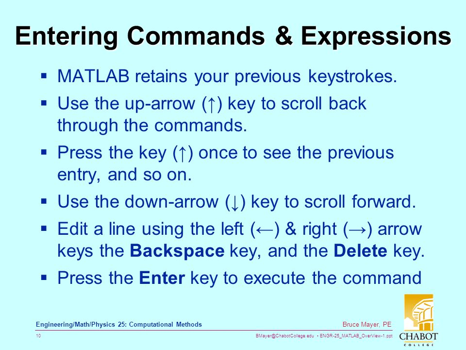Entering Commands & Expressions