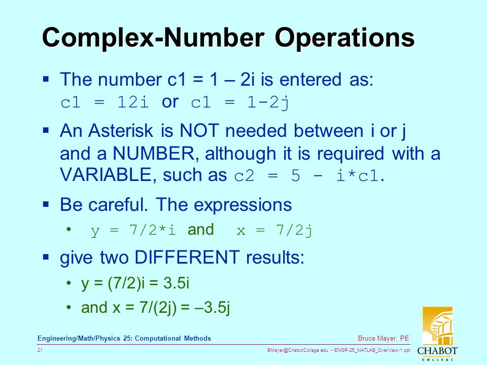 Complex-Number Operations