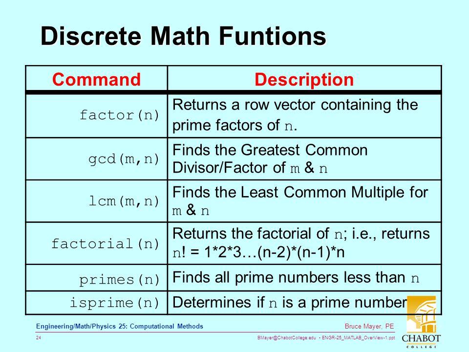 Discrete Math Funtions