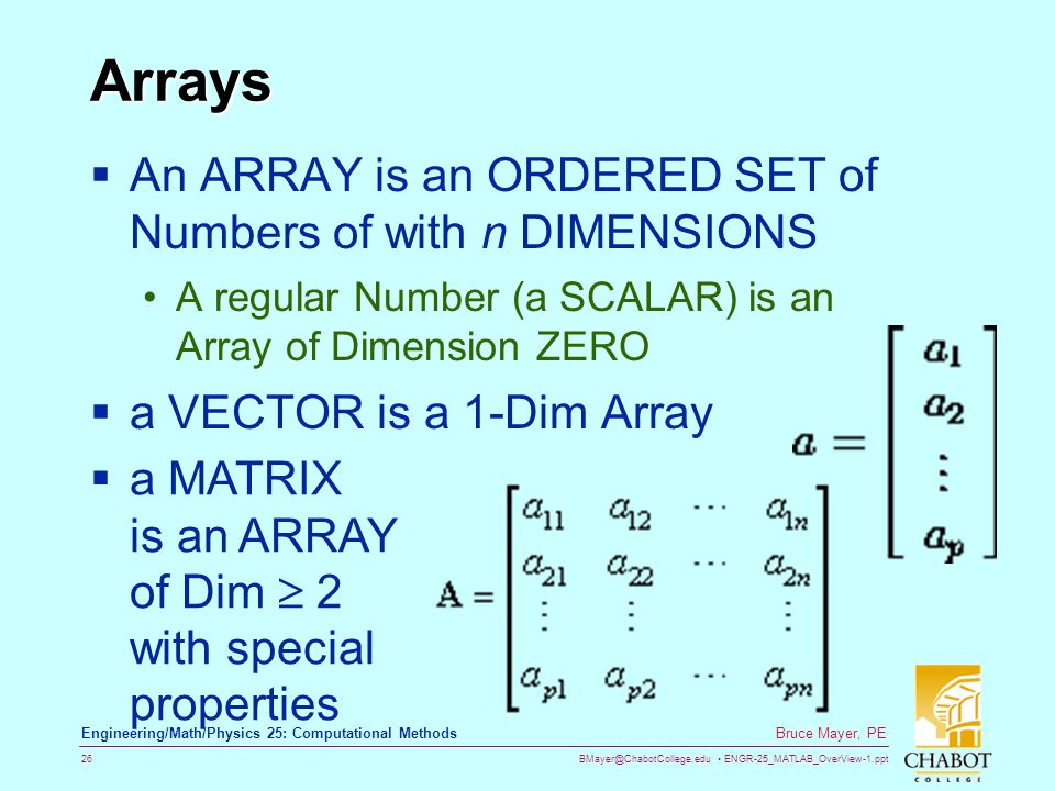 Arrays An ARRAY is an ORDERED SET of Numbers of with n DIMENSIONS