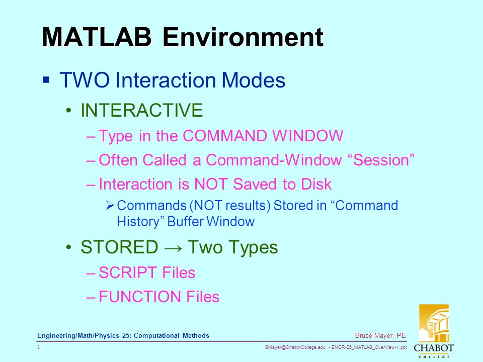 MATLAB Environment TWO Interaction Modes INTERACTIVE