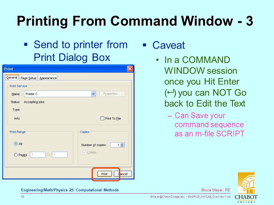 Printing From Command Window - 3