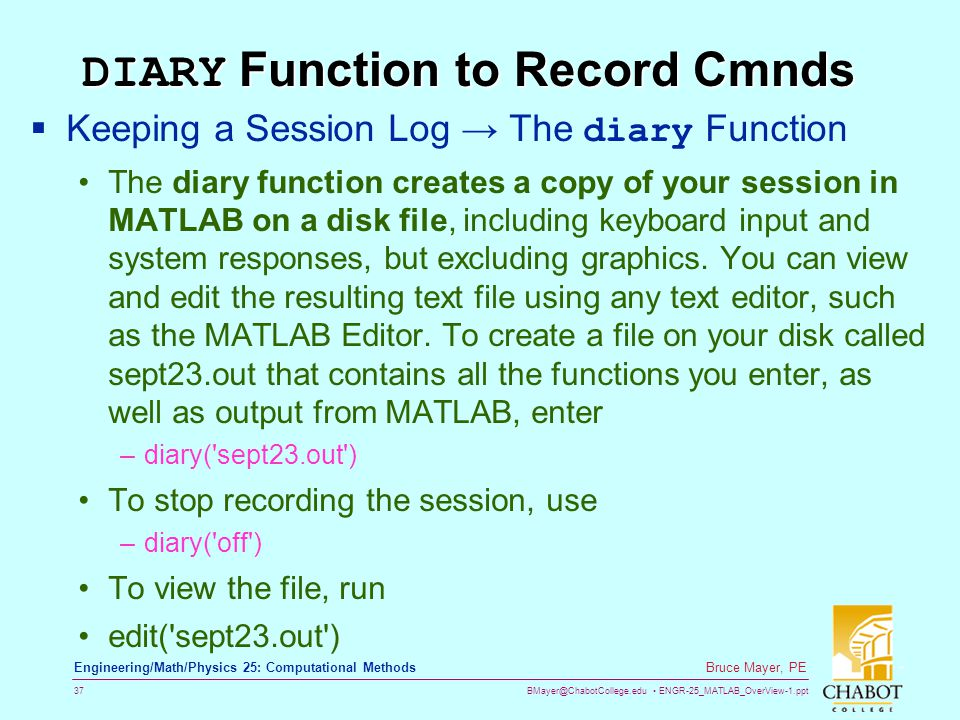 DIARY Function to Record Cmnds